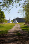 Indian Teepees outside Fort — Stock Photo