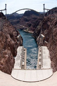 Hoover Dam and the Hoover Dam Bypass Bridge — Stock Photo