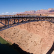 Navajo Bridge over the Colorado River and the Grand Canyon - 图库照片