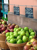 Vegetables and fruit at a market — Stock Photo