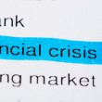 Newspaper headlines - financial crisis on 2008 — Stock Photo
