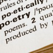 Poetry definition in dictionary - Stock Photo