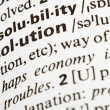Stock Photo: Solution definition in dictionary