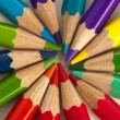 Color pencils in rainbow colors — Stok fotoğraf
