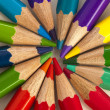 Color pencils in rainbow colors — 图库照片
