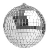 Closeup of a mirrorball on a white background — Foto Stock