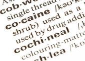 Słowo kokainy — Zdjęcie stockowe