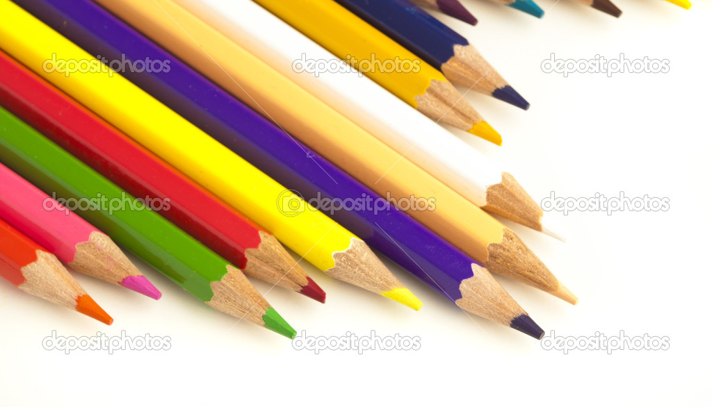 Closeup of crayons on a white background — Stock Photo #4996376