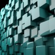 Abstract cyan 3D cubes - Stock Photo