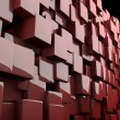 Abstract 3d cubes in red - Stock Photo