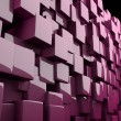 Abstract 3d cubes in pink - Stock Photo