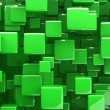 Abstract 3d cubes in green - Stock Photo