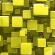 Abstract 3d cubes in yellow - Stock Photo