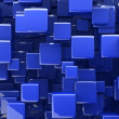 Abstract 3d cubes in blue - Stock Photo