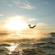 Stock Photo: Kiteboarder silhouette
