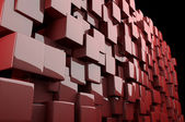 Abstract 3d cubes in red — Stock Photo