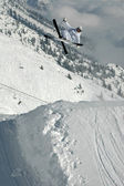 Freestyle skier jumping — Stock Photo