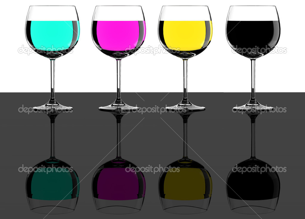 CMYK wine glasses concept on reflective background — Stock Photo #5110998