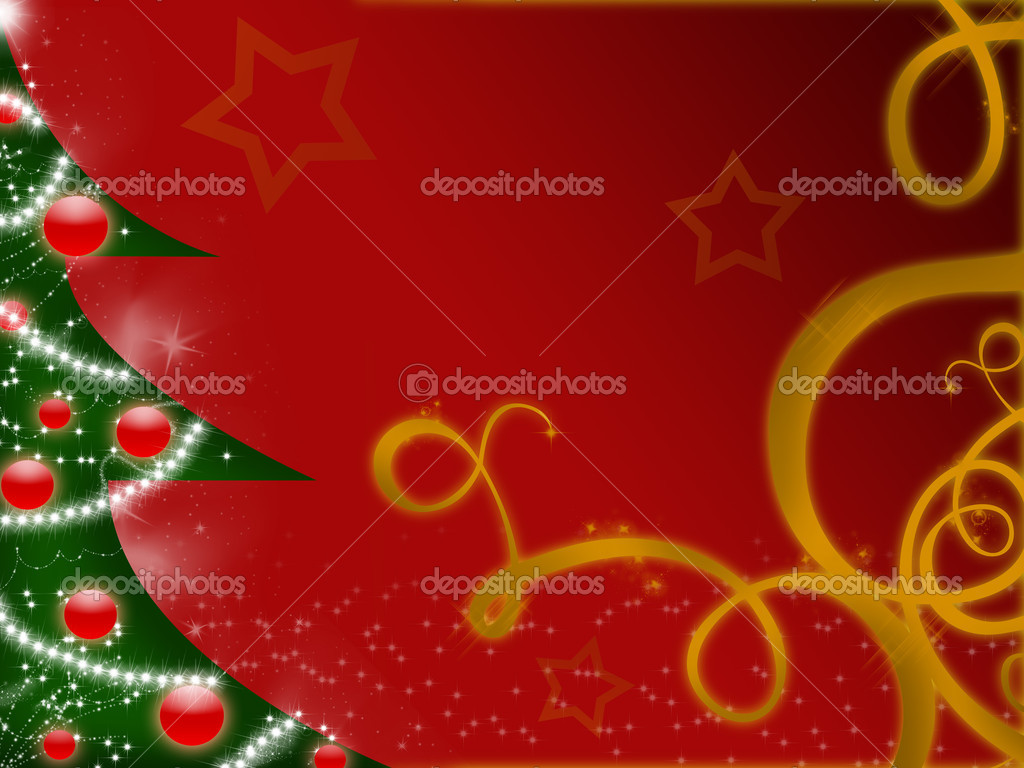 Abstract christmas tree on red background with stars and christmas decoration — Stock Photo #5111500