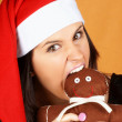 Royalty-Free Stock Photo: Santa Claus girl with gingerbread man puppet