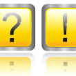Two buttons with question and answer — Stock Photo #5113716