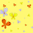 Yellow background with butterfly — Stock Vector