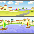 Stock Vector: Two banners with seascapes