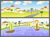 Two banners with seascapes — Stock Vector