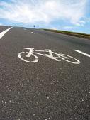 Roadside bicycle lane mark closeup — Stock Photo
