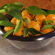 Stock Photo: Tangerines in brown bowl