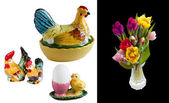 Four isolated easter decorating image — Stock Photo