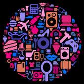 Zestaw piktogramy różnych zagadnień konsumenckich — Wektor stockowy
