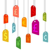 Hanging pricetags with currency signs — Stock Vector