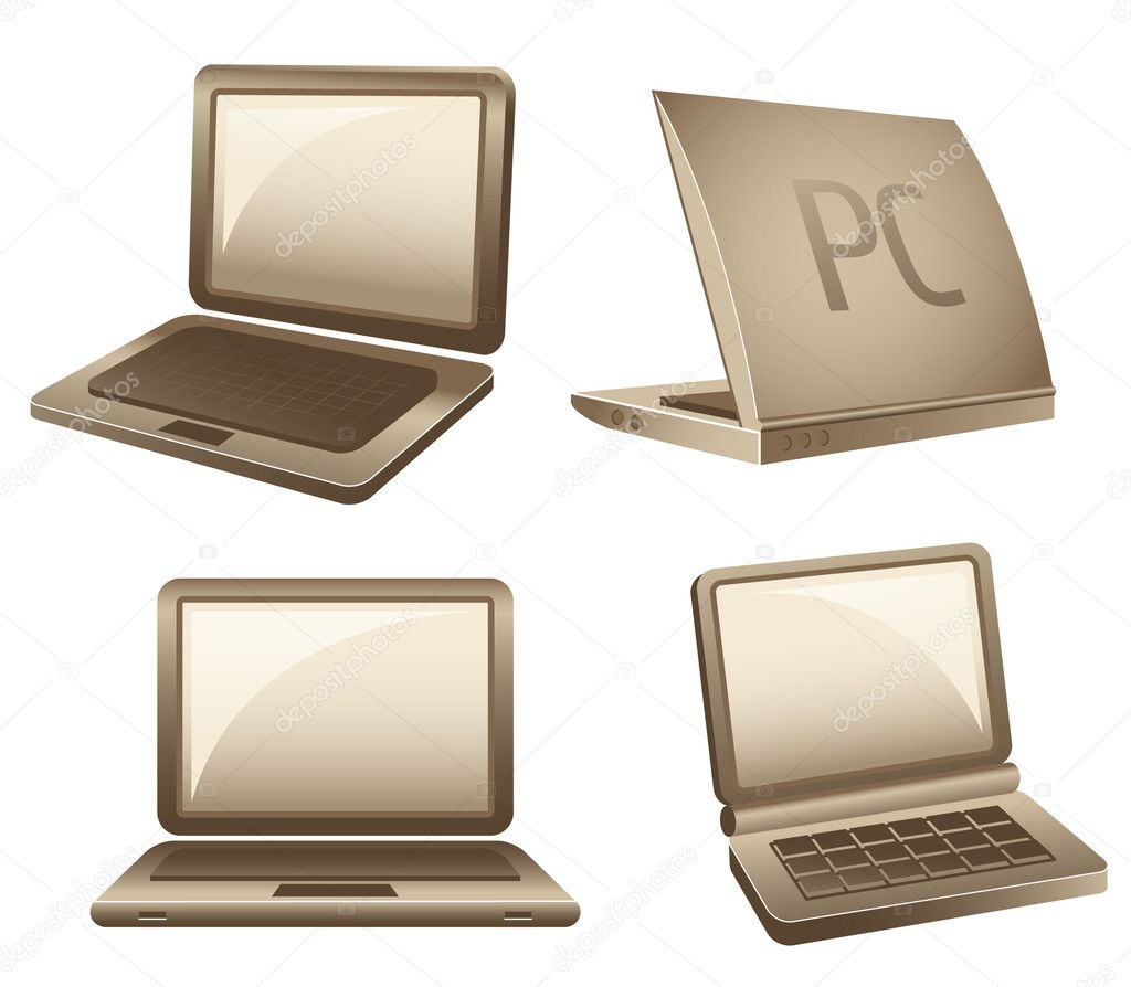 笔记本或膝上型计算机隔离在白色背景上的矢量图标 — 矢量图片作者
