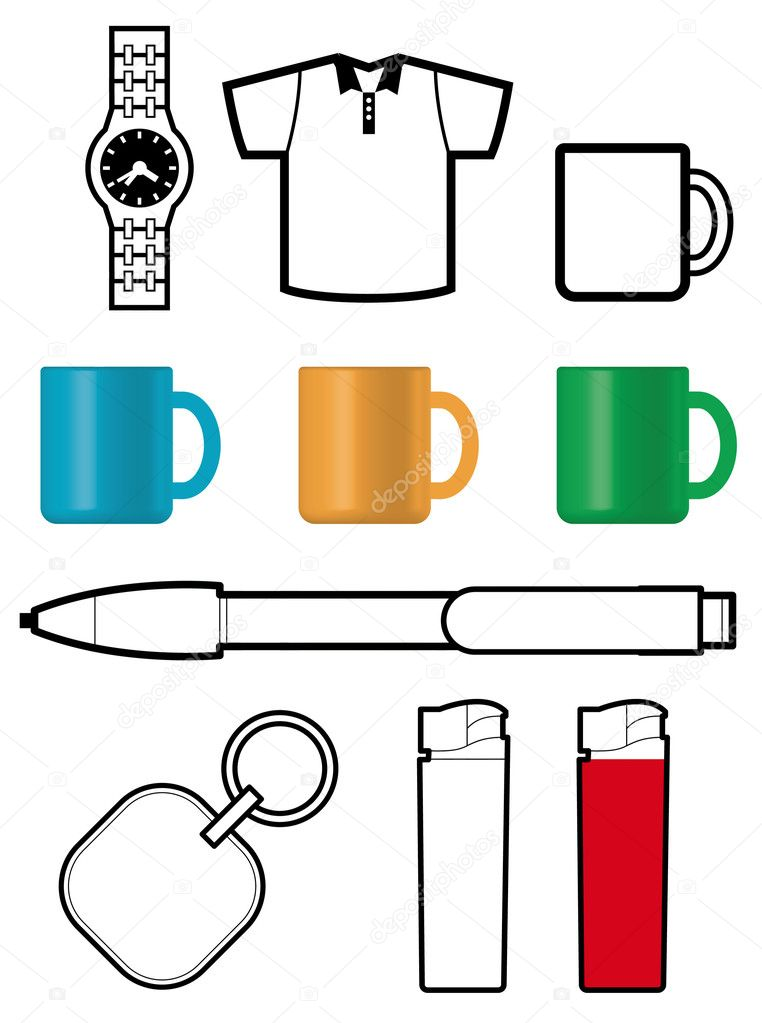 Promotional gift templates of watch, shirt, cup, pen, lighter — Image vectorielle #4983492