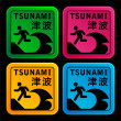Stock Vector: Tsunami warining signs
