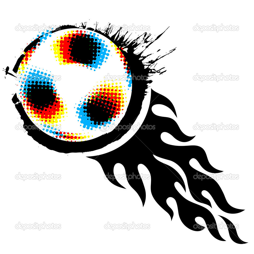 Halftone soccer ball with fireball on white — Stock Vector #5265686