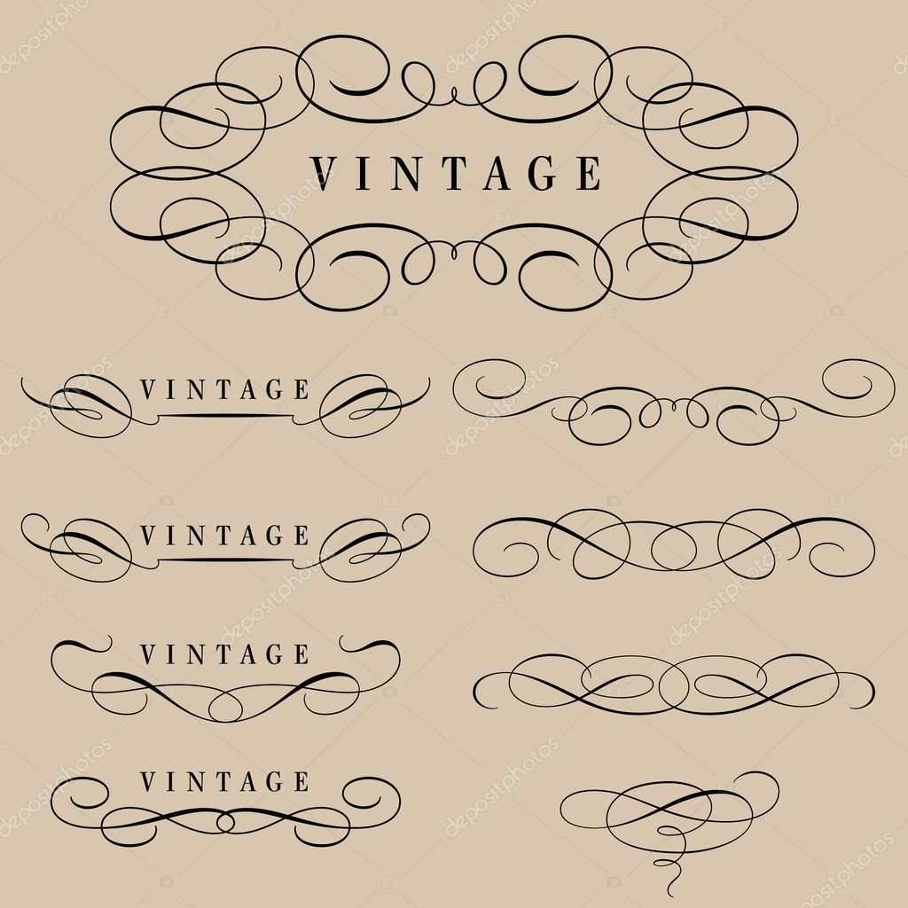 Set of calligraphic elements and page decoration — Stock Vector #5265734