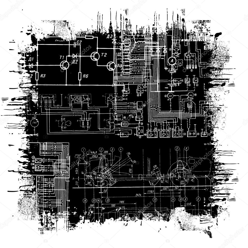 Abstract technical drawing in grunge black square — Stock Vector #5265754