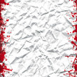 Crushed white sheet with grunge red ink frame — Stock Photo