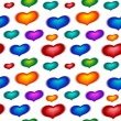 Seamless wallpaper with color hearts on white — Stock Vector