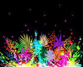 Farklı yaprakları ile renkli arka planı gösteren resim — Stok Vektör