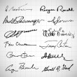 Stock Photo: Set of different signatures on white background