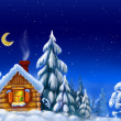 House in snow forest - Stock Photo