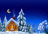 House in snow forest — Stock Photo