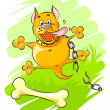 Funny orange dog - Stock Vector