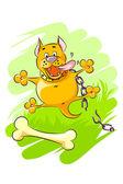 Funny orange dog — Stock Vector