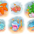 Set of funny fish — Stock Photo