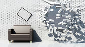 Creative interior with destruction brick wall — Stockfoto