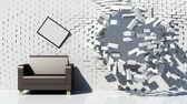 Creative interior with destruction brick wall — Stock Photo